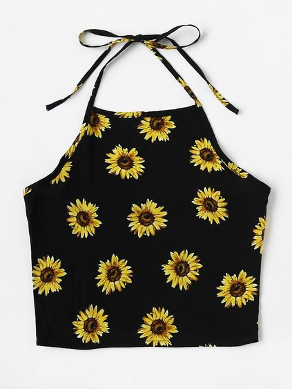 Halter Neck Chrysanthemum Print Random Top