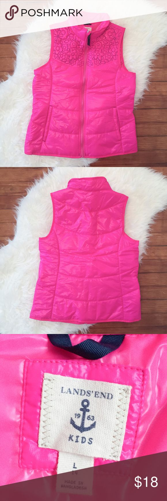 """NWOT LANDS' END Vest Outter Sleeveless Top Jacket """" LANDS' END KIDS """"  New without tags  Size : Kids L / 14 Armpit to armpit : 18"""" Length : 24""""  Please see the pictures.  Thank you for looking my item. Please check out my other items!! Lands' End Jackets & Coats Vests"""