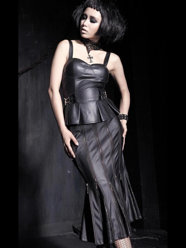 Metal punk fishtail skirt Q-183 from Punk Rave