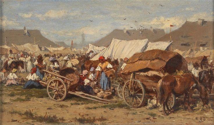 A Hungarian market scene by August Xaver Carl von Pettenkofen