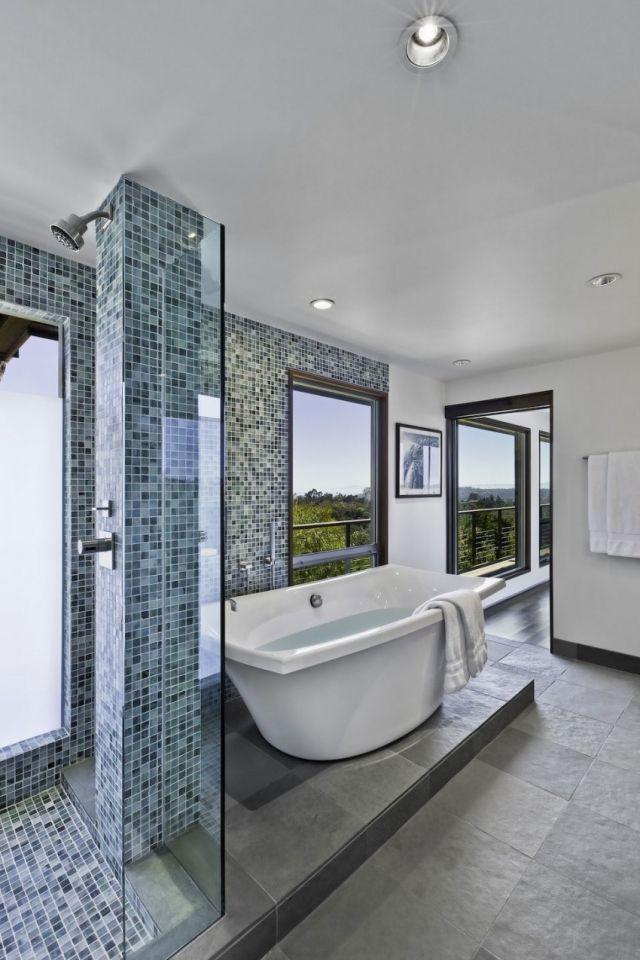 Mosaik Fliesen Für Badezimmer Trennwand Naturstein Bodenfliesen