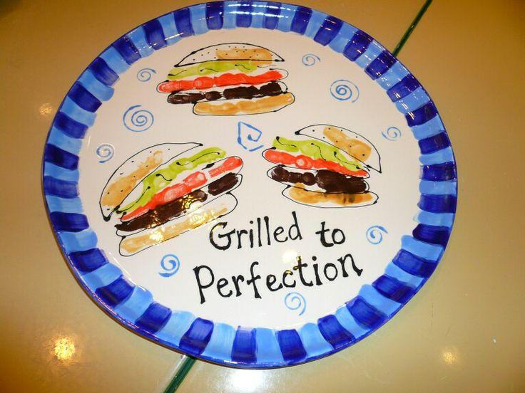 Handprint hamburgers crazy crafty pinterest hamburgers for Handprint ceramic plate ideas