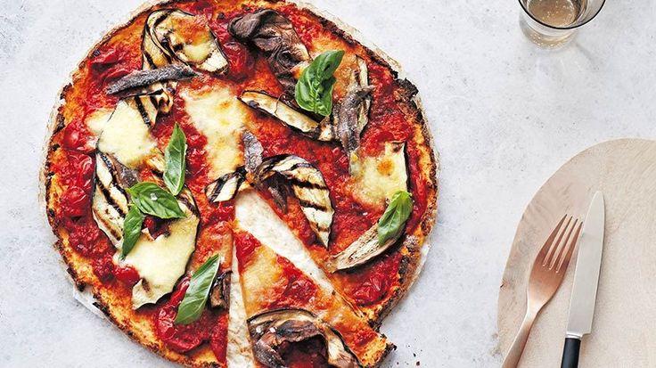 Cauliflower Pizza with Eggplant and Mozzarella