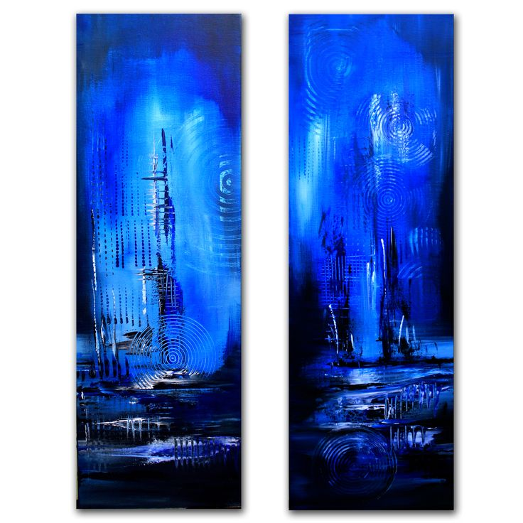 Moorlandschaft 2 abstrakt blau zweiteilig kunst malerei acrylbilder kaufen www.burgstallers-art.de