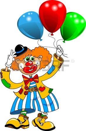 payaso alegre que juega con los globos vector  Foto de archivo