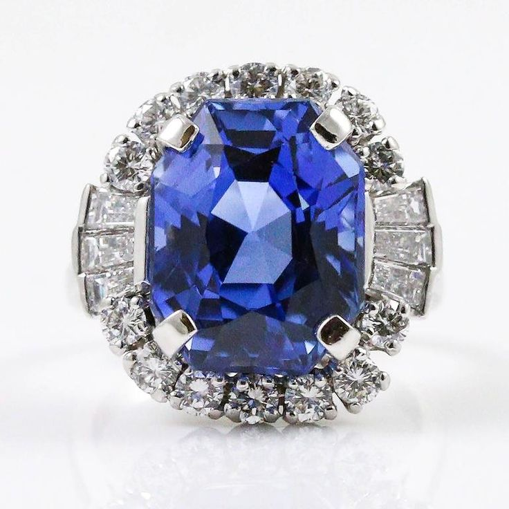 Magnificent 11.72ct Unheated Blue Sapphire and Diamond Ring