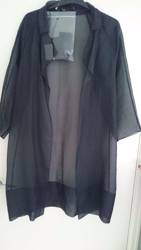 Max Mara Black Silk Organza Opera Evening Duster Dress