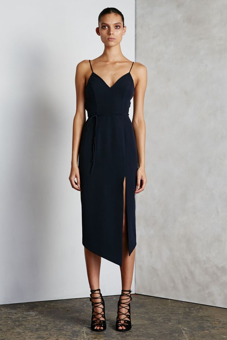 Shona Joy - The Emperor Lace Up Cocktail Midi Dress In Navy