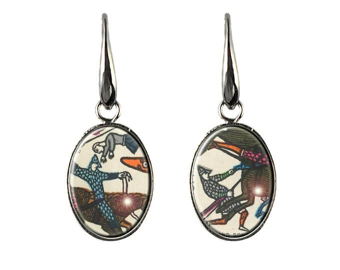Postage Stamp Earrings Battle of Hastings Bayeux tapestry hypoallergenic