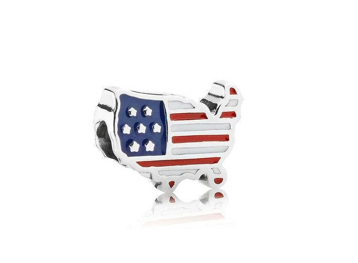 Charm de Prata e Esmalte Bandeira do Estados Unidos - Pandora