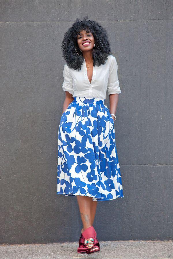 Button-Down x Midi Skirt