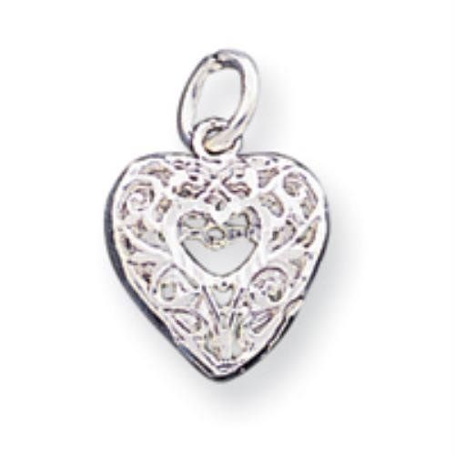 Sterling Silver Filigree Heart Charm goldia. $9.54