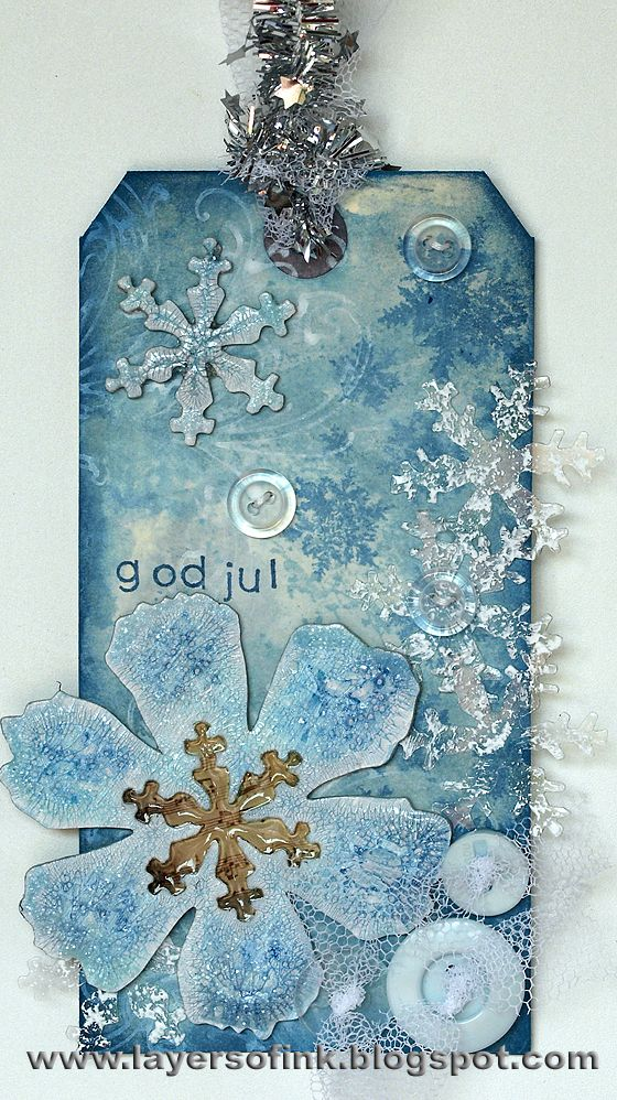 I loved the frosty look of Tim's fourth tag and the combination of Rock Candy Crackle Paint and Distress Stains is a favourite of mine (I us...