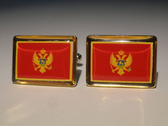 Montenegro Flag Cufflinks by LoudCufflinks on Etsy