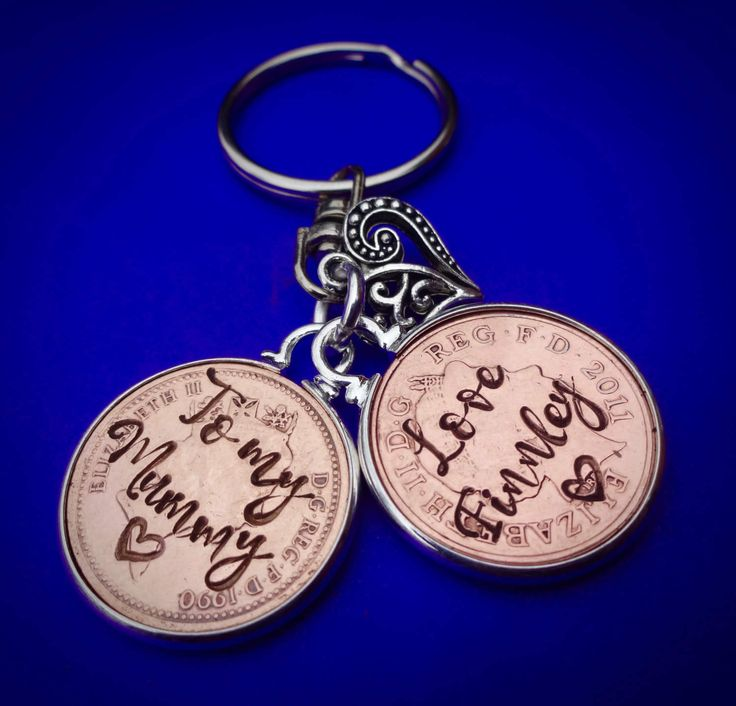 Mother's day  personalised lucky copper penny key ring Mum Mom Nan Nanna gift unique original birthday gift present  keychain english coins by gracefulbailey on Etsy