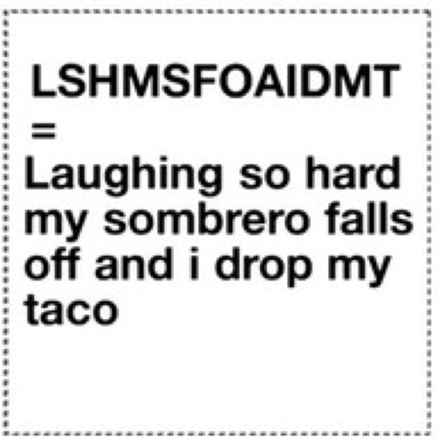 LSHMSFOAIDMT U003d Laughing So Hard My Sombrero Falls Off And I Drop My Taco.  You Canu0027t Make This Stuff Up.