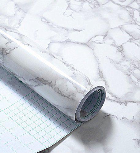 Grey Marble Look Contact Paper Gloss Film Vinyl Self Adhesive Backing  Granite Shelf Liner Peel And