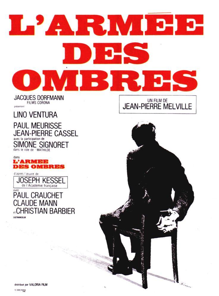 L'Armée des ombres est un film franco-italien de Jean-Pierre Melville sorti sur les écrans en 1969. 20 octobre 1942, en France occupée. Philippe Gerbier, ingénieur distingué des Ponts et Chaussées soupçonné de « pensées gaullistes », est arrêté par la police de Vichy et placé dans un camp de prisonniers reconverti en prison. Il tranche sur les autres prisonniers par une force de caractère peu commune, et par les appuis qui l'ont placé dans ce camp.