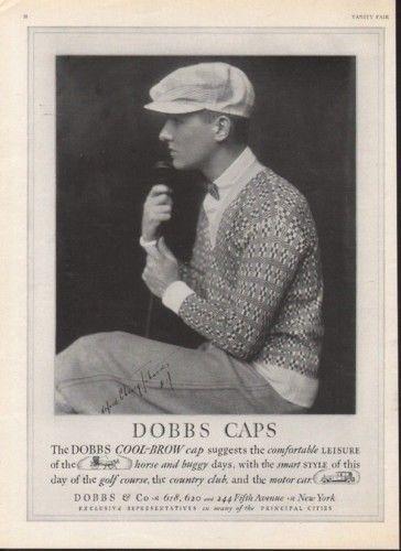 1926 DOBBS CAP HAT FASHION GOLF SPORT ALFRED JOHNSTON