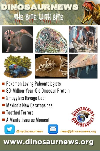 This Week - Pokémon Loving Paleontologists * 80-Million-Year-Old Dinosaur Protein * Smugglers Ravage Gobi * Mexico's New Ceratopsidae * Juvenile, Adult Or Senior? * Toothed Terrors * A Mantellisaurus Moment http://www.dinosaurnews.org #dinosaurs #news #dinosaurnews #fossils