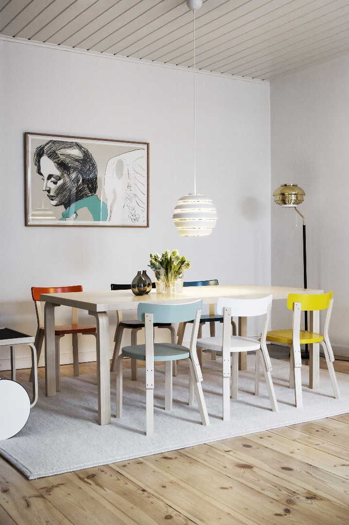 Colourful kitchen featuring Artek classics including Alvar Aalto's Beehive pendant light & 68 Chair. Get the look at Utility