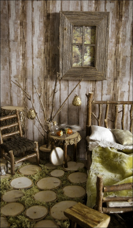 Fairy House Twig Bed Chair Tree Stump Slices And Moss For Flooring
