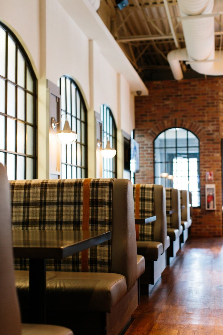 Brewsters Bonavista Restaurant | Holland Design, Restaurant, hospitality, bar, beer, brewery, interior, design, lighting, banquette, windows, mullions, arched, plaid, strapping, brick