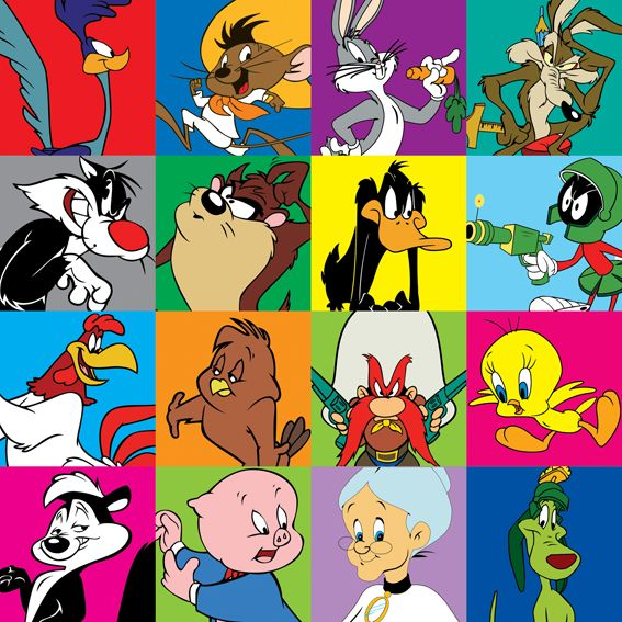 looney tunes cartoon characters looney tunes characters square poster adl r n sat. Black Bedroom Furniture Sets. Home Design Ideas