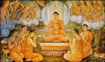 "In this picture, the Buddha has just attained enlightenment at Bodh Gaya. He went to Sarnath and taught his first speech to set the ""wheel of dharma"""