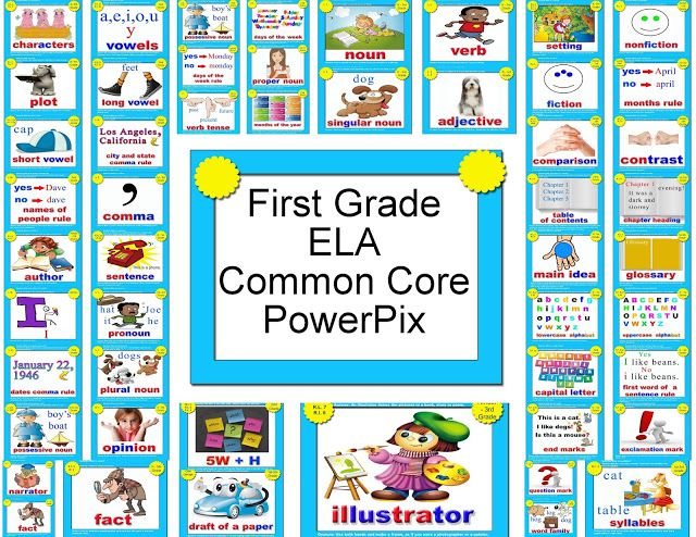 First Grade ELA Common Core PowerPix from Transitional Kinder with Mrs. O