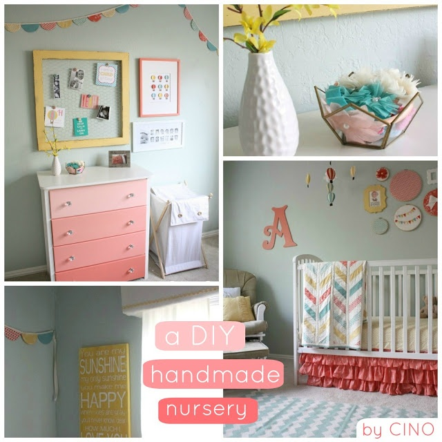 6 Tips To Using Coral In The Kitchen: Gorgeous DIY Nursery In Coral, Teal, And Yellow