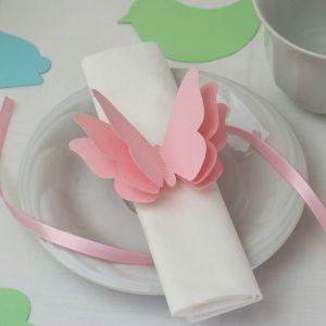 Szalvétadísz – rózsaszín pillangó Napkins paper decor