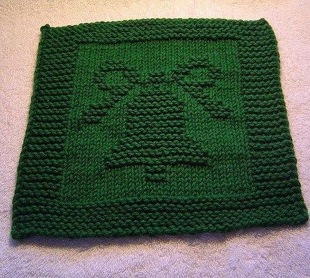 Free knitting pattern for Christmas Bell Dishcloth
