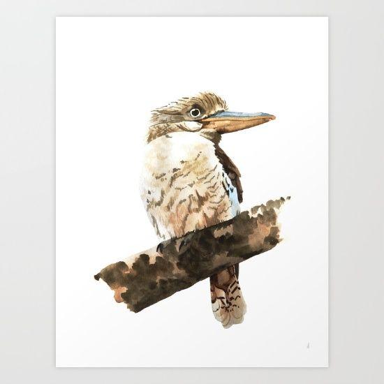 Kookaburra bird watercolour