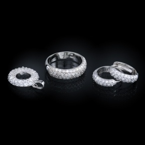 Sterling silver pavé wedding set