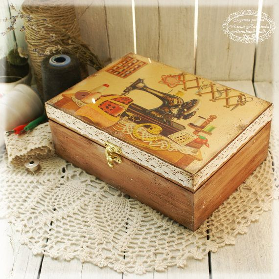 Sewing Machine  sewing basket sewing box Box for by Alenahandmade, $60.00