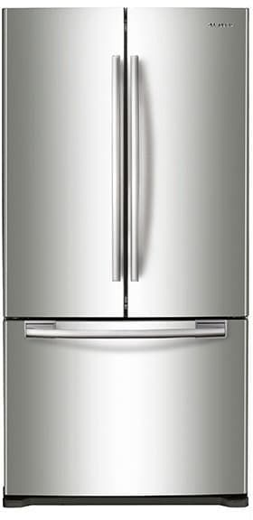 Samsung RF18HFENBSR 33 Inch Counter Depth French Door Refrigerator with 17.5 cu. ft. Capacity, 2 Tempered Glass Shelves, 2 Gallon Door Bins, Twin Cooling System, Power Freeze and Power Cool, Surround Air Flow, LED Lighting and Automatic Filtered Ice Maker: Stainless Steel