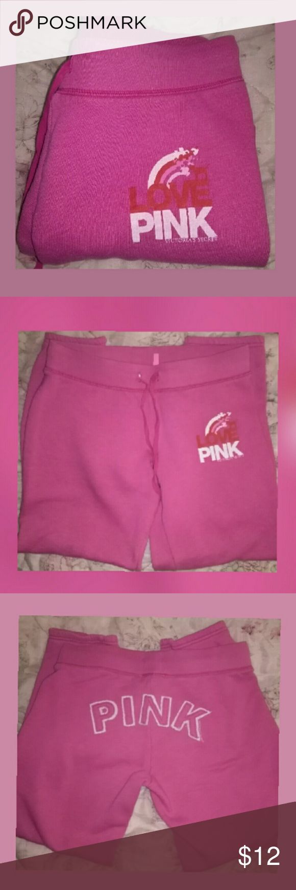 PINK sweatpants VS sweatpants..PINK  written on the front left & in white trim letters across the booty..drawstring at the waist. Excellent condition! PINK Victoria's Secret Pants