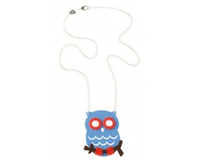 Owl pendant - large - blue - acrylic and metal alloy