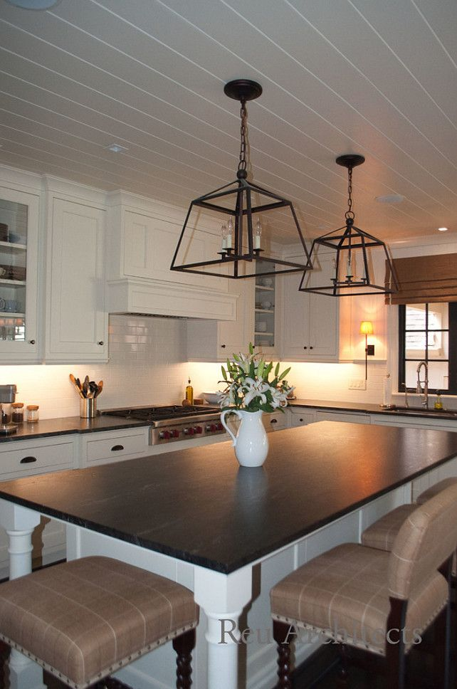 Kitchen Soapstone Countertop.  Kitchen island with soapstone countertop. #Soapstone #SoapstoneCountertop #SoapstoneKitchenCountertop   Reu Architects