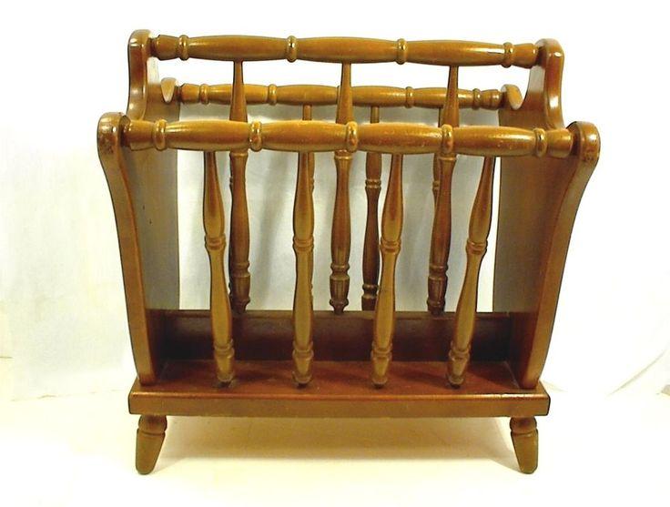 Vintage Wood Magazine Rack Dowel Authentic Furniture Products El Segundo Ca