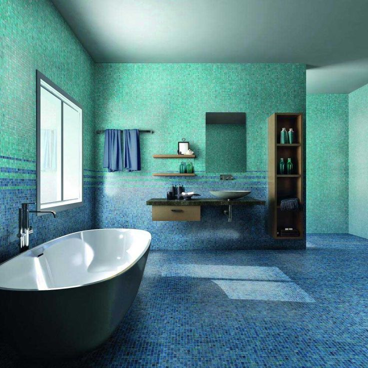 Bathroom Blue Wall Tile Designs Ideas with turquoise mosaic tile wall and floor including bathtub beside glass window and wooden vanity sink