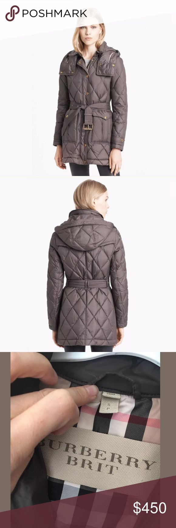 Burberry Brit Greysby Quilted Down Jacket SMALL VGUC, still very puffy. Scratches on metal hardware. Well-made down jacket in a very unique (grey/brown) colour. Purchased on eBay, but too small for me. Worn a couple of times and very warm for NYC weather. MSRP $850 Burberry Jackets & Coats