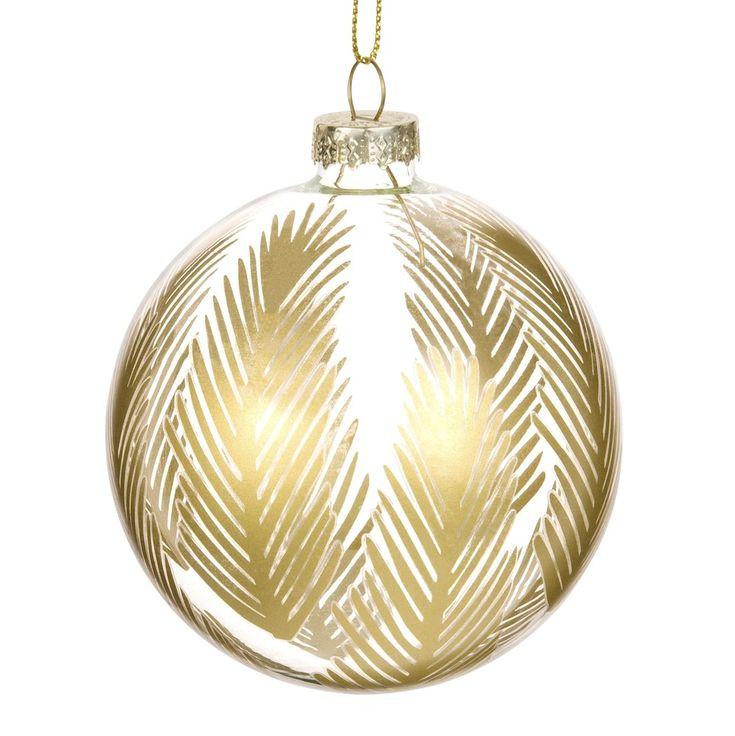 Boule en verre transparent motif feuillage doré PALMS | Maisons du Monde