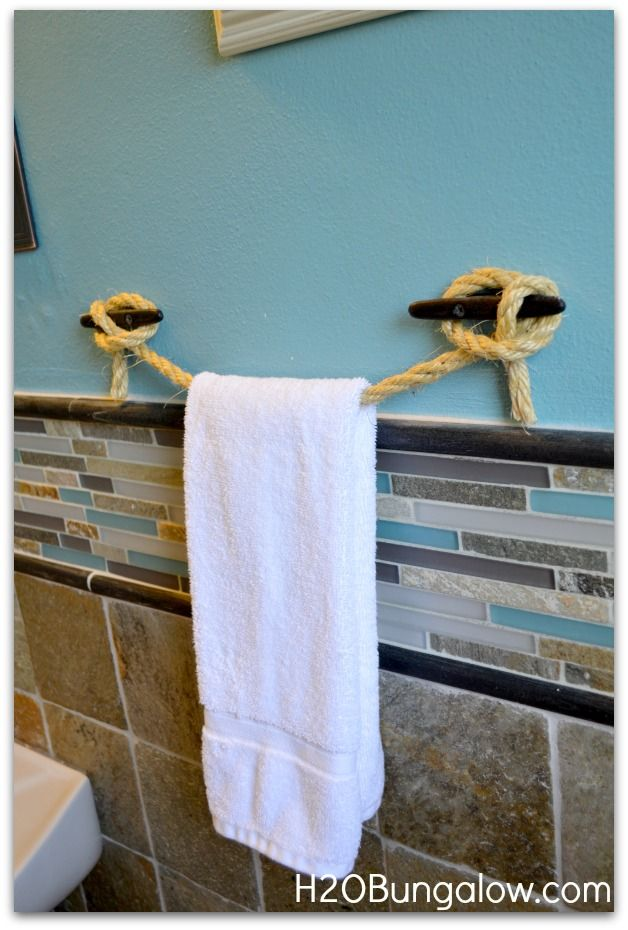 Rope towel holder for RV: uses less area than a towel bar that would stick out further in the walkway. Could have a long one to hang more than one towel or to hang clothes