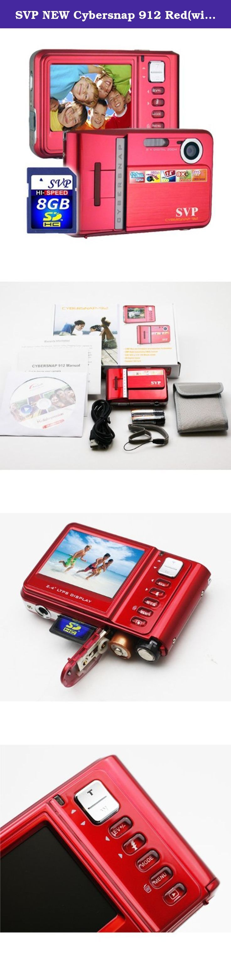 SVP NEW Cybersnap 912 Red(with 8GB included) 9MP Red Digital Camera+ Video Recorder+8X Zoom~ UltraSlim (8GB Included). Full High Definition Video up to 1080P (1440x1080) at 30 frame per second with H.264 Video Decoder. Resolution sensor gives you the option of taking 5MP, 3MP, 1MP resolution images, and 7.7MP resolution images. Incorporates a high-performance 5x optical zoom lens with a maximum aperture of F3.7. Also Augmented by the 4x digital zoom, the HDT500A-Bk offers zooming…