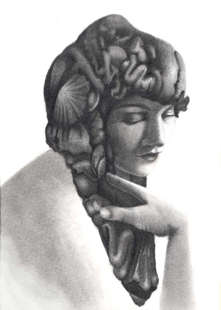 Dibujo, drawing, nimph, retrato