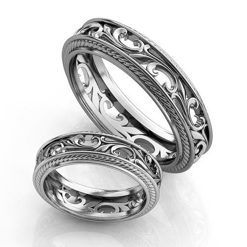 Vintage Style Silver Wedding Bands Ring Set Filigree Rings Unique Promise