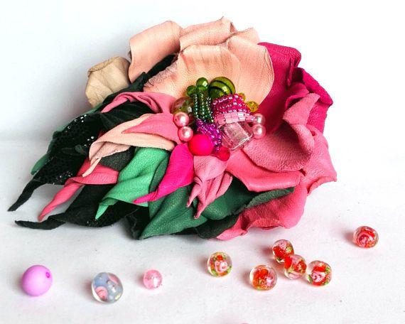 poppy broochred poppy broochhand made broochflowers women broochleather broochleather pinleather flower clipleather hair pinwedding lapel broochfabric flower pinl... #brooch
