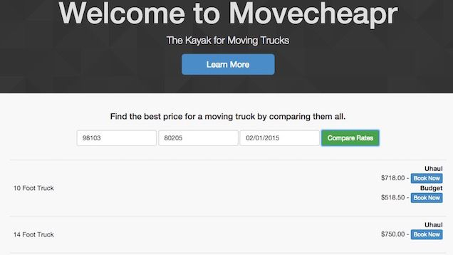 Finding a cheap moving truck requires a bit of finesse, but a hackathon project dubbed Movecheapr makes comparing those prices a bit easier by scanning for truck prices in your area and giving you all the results.